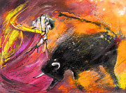 Bullfight Art Drawings Posters - Toroscape 57 Poster by Miki De Goodaboom