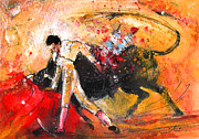 Bullfight Art Drawings Posters - Toroscape 58 Poster by Miki De Goodaboom