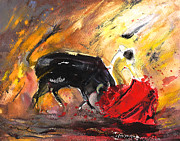 Bullfight Paintings - Toroscape 65 by Miki De Goodaboom