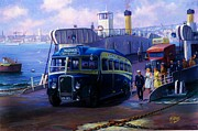 1950s Painting Framed Prints - Torpoint ferry. Framed Print by Mike  Jeffries
