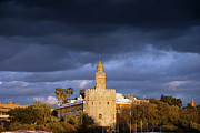 Fortification Posters - Torre del Oro in Seville at Sunset Poster by Artur Bogacki