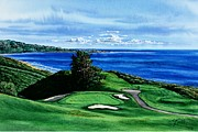 Golf Painting Posters - Torrey Pine Golf Course San Diego California Poster by John YATO