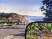 State Paintings - Torrey Pines in Sideview Mirror by Mary Helmreich
