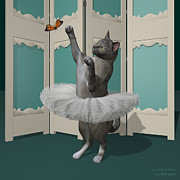 Tutus Digital Art - Tortie Oriental Ballet Cat on Paw-te by Andre Price