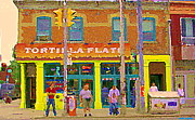 Queen City Paintings - Tortilla Flats Tex Mex Restaurant Paintings Downtown Toronto Cafe Scenes Carole Spandau Art by Carole Spandau