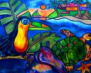 Ocean Turtle Painting Originals - Tortuga Eco Tour by Patti Schermerhorn