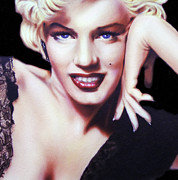 Black Lace Prints - Totally Marilyn Print by Zeana Romanovna