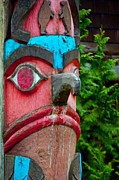 Woodcarving Prints - Totem Face Print by  Terrie Heslop