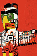Vancouver Painting Prints - Totem Pole 02 Print by Catf
