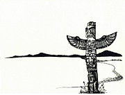 Tree Lines Drawings Prints - Totem Pole Print by Celine Bain