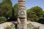 Vancouver Photos - Totem Pole Face Vancouver by John  Mitchell
