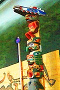 Pole Drawings Metal Prints - Totem Pole Spirit - Canada Metal Print by Peter Art Print Gallery  - Paintings Photos Posters