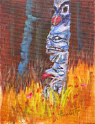 Aboriginal Art Painting Posters - Totems Of Haida Gwaii Poster by Mohamed Hirji