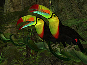 Toucan Digital Art Posters - Toucan Jungle Poster by Corey Ford