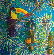Rain Tapestries - Textiles Metal Prints - Toucan Tango for Mango Metal Print by Kelly  ZumBerge