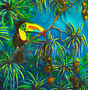 Bird Tapestries - Textiles Prints - Toucan Tango for Mango Take 2 Print by Kelly ZumBerge