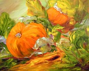 Pumpkins Paintings - Touch of Autumn by Barbara Pirkle