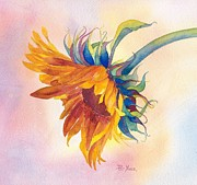 Sunflower Painting Metal Prints - Touch of Gold Metal Print by Pat Yager