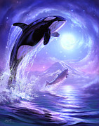 Orca Digital Art Posters - Touch the Sky Poster by Jeff Haynie