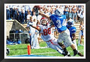 Sports Pyrography Prints - Touchdown Print by John Vito Figorito