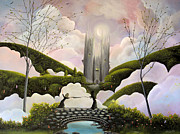 Surreal Landscape Painting Metal Prints - Touche. Fantasy Castel Fairytale Art By Philippe Fernandez  Metal Print by Philippe Fernandez
