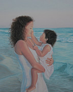 Mother Pastels Metal Prints - Touched by an Angel Metal Print by Holly Kallie