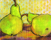 Pear Art Painting Framed Prints - Touching Green Pears Art Framed Print by Blenda Studio