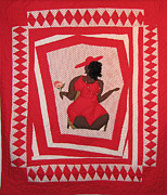 Red And White Quilt Prints - Tough Mary Print by Aisha Lumumba