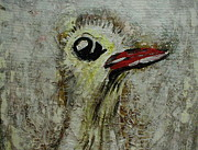 Outsider Art Paintings - Tough OL Bird by Dotti Hannum