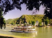 Jsm Fine Arts Posters - Tour Boat on the River Rhine Poster by John Malone