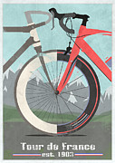 Fixed Gear Posters - Tour De France Bicycle Poster by Andy Scullion