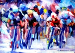 Cycling Art Paintings - Tour de France by Mark Hartung
