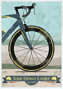 Australia Digital Art Posters - Tour Down Under Bike Race Poster by Andy Scullion