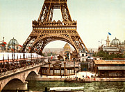 Vintage Eiffel Tower Metal Prints - Tour Eiffel and Exposition Universelle Paris Metal Print by Nomad Art And  Design