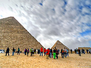 Tourism Fogh At Giza Pyramids  Print by Karam Halim