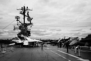 Manhaten Framed Prints - tourists and Aircraft on the flight deck of the USS Intrepid at the Intrepid Sea Air Space Museum  Framed Print by Joe Fox