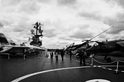 Naval Aircraft Prints - tourists and Aircraft on the flight deck of the USS Intrepid new york city Print by Joe Fox