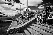 Enjoying Prints - Tourists And Visitors Gathering In Barcelona Port Vell The Old Port Waterfront Catalonia Spain Print by Joe Fox