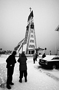 Nord Prints - Tourists At Hammerfest Church Finnmark Norway Europe Print by Joe Fox