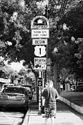 Mile Marker Posters - Tourists At Us Route 1 Mile Marker 0 Start Of The Highway Key West Florida Usa Poster by Joe Fox