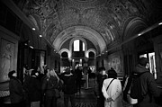 Kudamm Prints - tourists inside the Gedenkhalle memorial hall of Kaiser Wilhelm Gednachtniskirche Print by Joe Fox