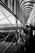 Manhaten Prints - Tourists  Look At The View And Take Photos From Observation Deck Empire State Building Print by Joe Fox