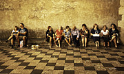 Talking Photo Metal Prints - Tourists on Bench - Taormina - Sicily Metal Print by Madeline Ellis
