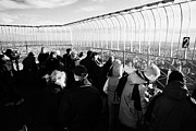 Manhatten Posters - Tourists On Observation Deck Of The Empire State Building New York City Usa Poster by Joe Fox