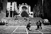 Front Steps Prints - Tourists On Steps Leading Up To Facade Of Tarragona Cathedral Catalonia Spain Print by Joe Fox