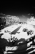 Ancient Rome Art - Tourists On The Arena Floor Of The Old Roman Colloseum At El Jem Tunisia Vertical by Joe Fox