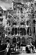 Discord Prints - tourists outside casa batllo modernisme style building in Barcelona Catalonia Spain Print by Joe Fox