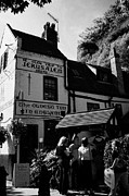 Tourists Attraction Prints - Tourists Outside Ye Olde Trip To Jerusalem Most Ancient Inn In England Pub Castle Road Nottingham En Print by Joe Fox