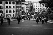Michaelangelo Prints - tourists walk on the Cordonata steps Michelangelo designed teps leading up to the Campidoglio looking down towards Piazza Aracoeli Rome Lazio Italy Print by Joe Fox