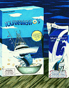 Sailfish Drawings Posters - Tournament Os Cereal Poster by Karen Rhodes